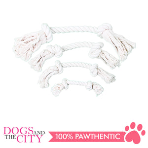 "Pawise 14887 12"" Rope Bone w/2 Knots Natural Color Dog Toy - All Goodies for Your Pet"