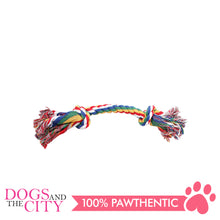 "Load image into Gallery viewer, Pawise 14884 7"" Rope Bone w/2 Knots Multi Color Dog Toy - All Goodies for Your Pet"