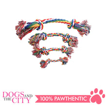 "Load image into Gallery viewer, Pawise 14888 12"" Rope Bone w/2 Knots Multi Color Dog Toy - All Goodies for Your Pet"