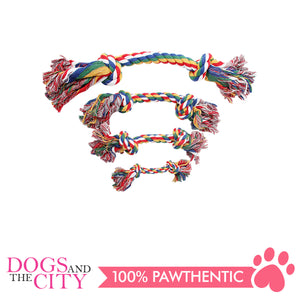 "Pawise 14884 7"" Rope Bone w/2 Knots Multi Color Dog Toy - All Goodies for Your Pet"