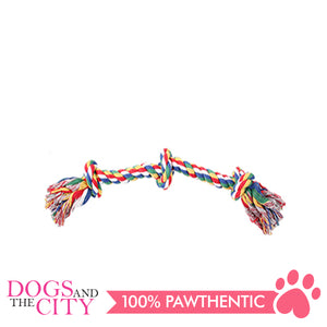 "Pawise 14889 13"" Rope Bone w/3 Knots—Multi Color Dog Toy - All Goodies for Your Pet"
