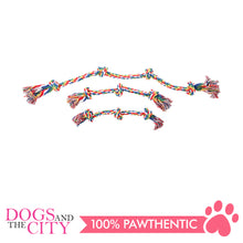 "Load image into Gallery viewer, Pawise 14890 16"" Rope Bone w/3 Knots—Multi Color Dog Toy - All Goodies for Your Pet"