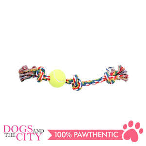 "Pawise 14892 8"" Rope Bone w/3 Knots& Tennis Ball—Multi Color Dog Toy - All Goodies for Your Pet"