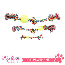 "Load image into Gallery viewer, Pawise 14892 8"" Rope Bone w/3 Knots& Tennis Ball—Multi Color Dog Toy - All Goodies for Your Pet"