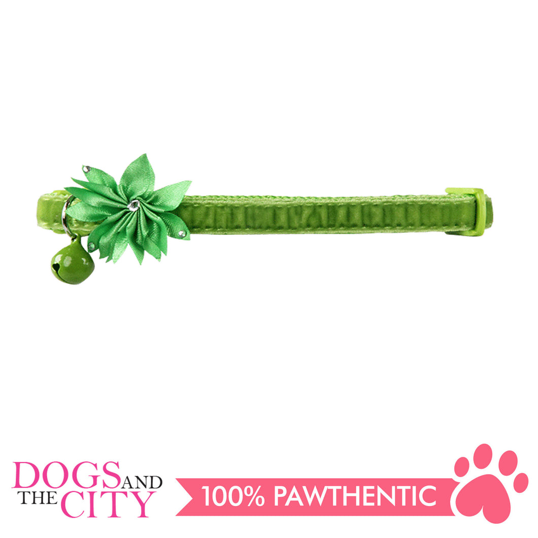 Pawise 28024 Cat Collar (20-30cm) Flower, Green - All Goodies for Your Pet