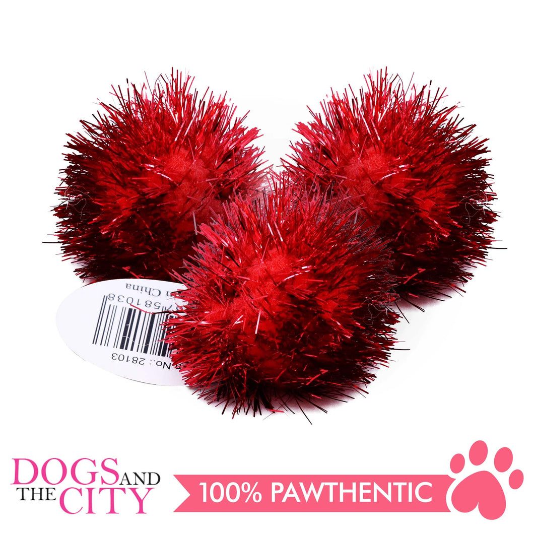 Pawise 28103 Cat Toy Red Pom Pom Balls (3 pieces) - All Goodies for Your Pet