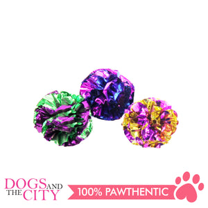 Pawise 28107 Cat Toy Crinkle Balls -Assorted Colors (3 pieces) - All Goodies for Your Pet