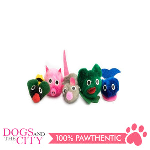 Pawise 28108 Cat Toy Animal Party -Assorted Colors (5 pieces) - All Goodies for Your Pet