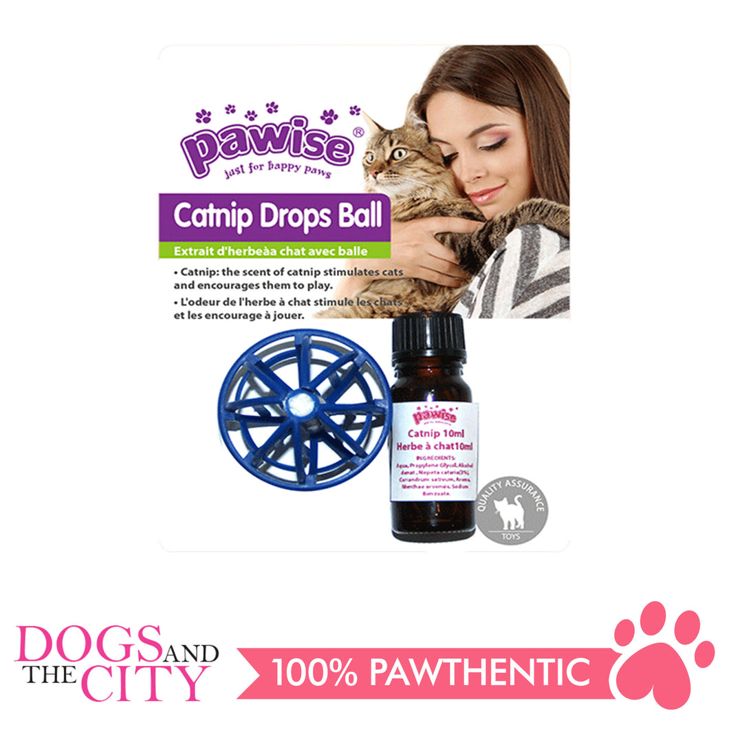 Pawise 28200 Catnip Drops Ball w/10ml Cat Nip - All Goodies for Your Pet