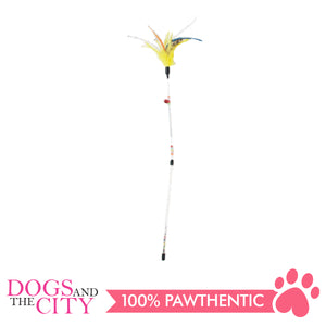 Pawise 28224/28226 Cat Toy Wand Spring Feather Teaser Yellow/Black