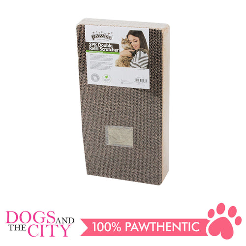 Pawise 28486 Double Refill Cardboard Cat Scratcher 2 packs 47x23x8cm - All Goodies for Your Pet