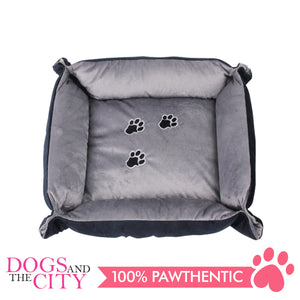 Pawise 28545 Pet Bed w/ Paws Blue-Grey - All Goodies for Your Pet