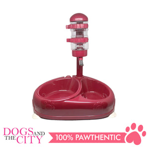 JX Pet Water Feeder with Double Food Bowl for Dogs and Cats