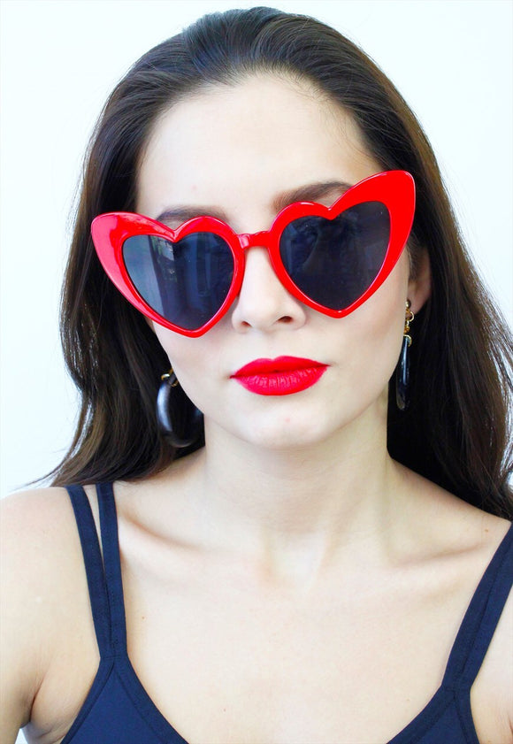 Red Lens Oversized Heart Sunglasses