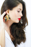 Bold Gold Wave Geometric Earrings