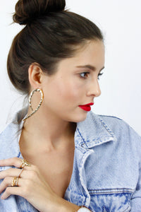 Gold Textured Geometric Dangle Statement Earrings