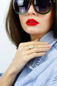 Gold Diamante Stone Statement Ring