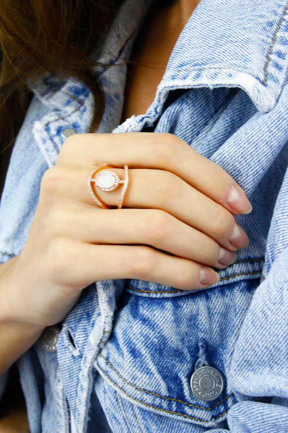 Rose Gold Diamante Pink Stone Statement Ring