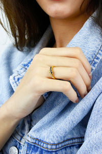 Gold Clear & Black Diamante Minimalist Ring
