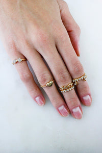 Gold Heart Diamante Stack Midi Knuckle Cocktail Rings