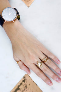 Gold Diamond Shape Diamante Stack Midi Knuckle Cocktail Rings