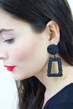 Black Geometric Statement Earrings