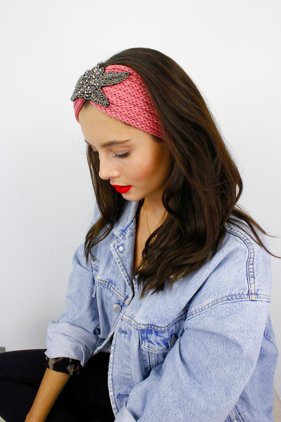 Pink Silver Beaded Ribbed Knitted Turban Headband