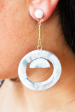 White Marble Pearl Geometric Acrylic Drop Dangle Earrings