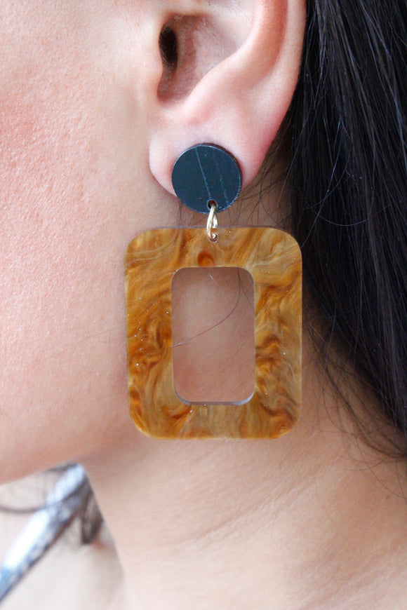 Tan Large Geometric Rectangle Acrylic Drop Dangle Earrings