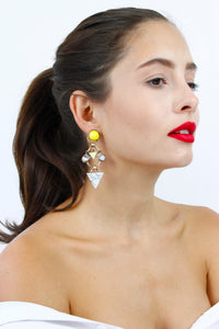 Yellow White Marble Diamante Chandelier Earrings