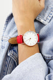 Red & Rose Gold White Face Watch