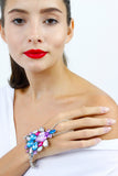 Multi Colour Diamante Rhinestone Jewel Hand Bracelet