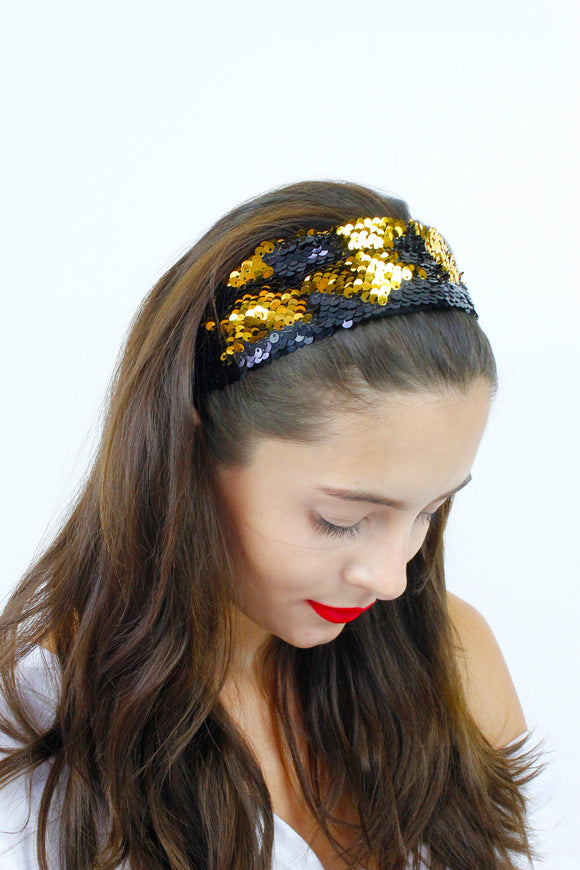 Black & Gold Sequin Festival Bandana Headband
