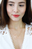Rose Gold Letter 'R' Monogram Chain Necklace