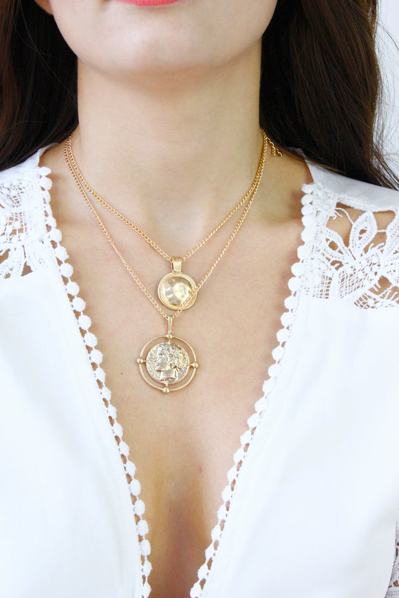 Gold Coin Medallion Multi Layer Chain Necklace