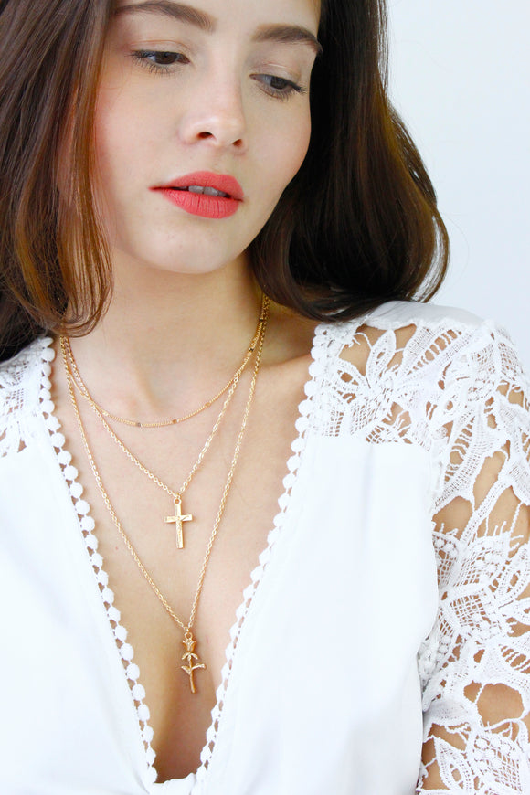 Gold Cross Rose Charm Multi Layer Chain Necklace