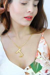 Gold Bamboo Initial 'J' Monogram Chain Necklace