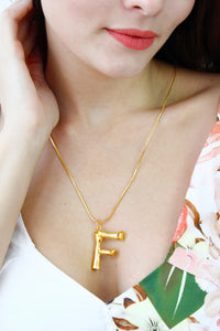 Gold Bamboo Initial 'F' Monogram Chain Necklace