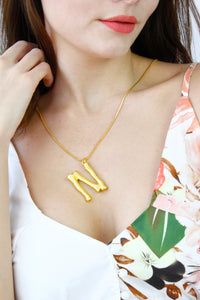 Gold Bamboo Initial 'N' Monogram Chain Necklace