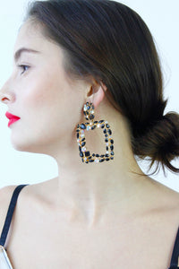 Black Gold Diamante Rhinestone Drop Dangle Earrings