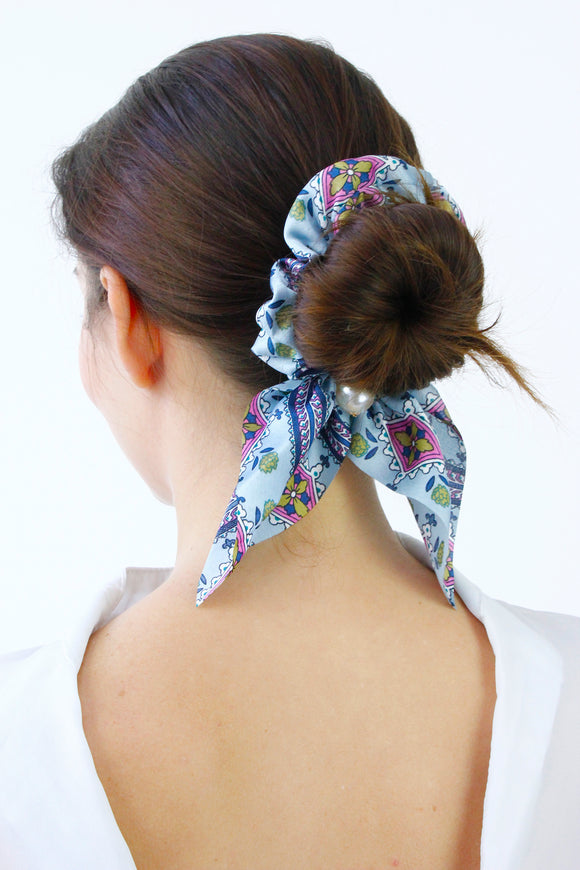 Light Blue Paisley Print Pearl Scrunchie Hair Band Tie