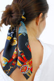 Navy & Gold Chain Print Scrunchie Hair Band Tie