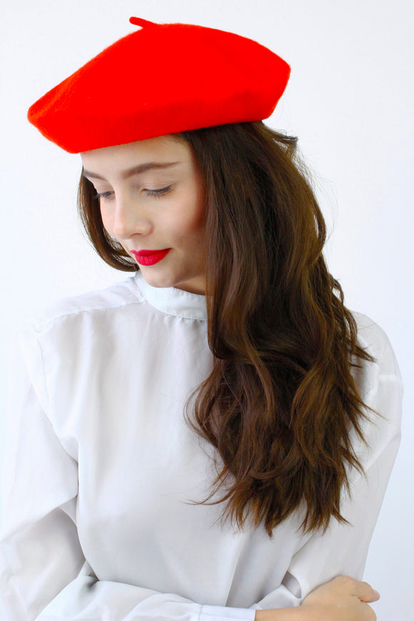 Bright Red French Style Beret Hat