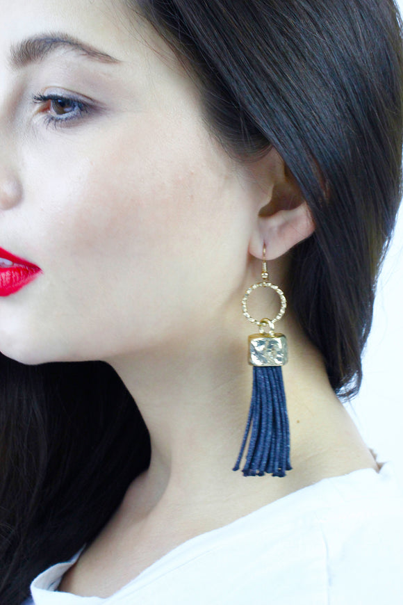 Black & Silver Tassel Drop Earrings