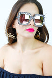 Black Diamante Mirror Lens Oversized Sunglasses