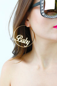 Gold Baby Hoop Large Earrings