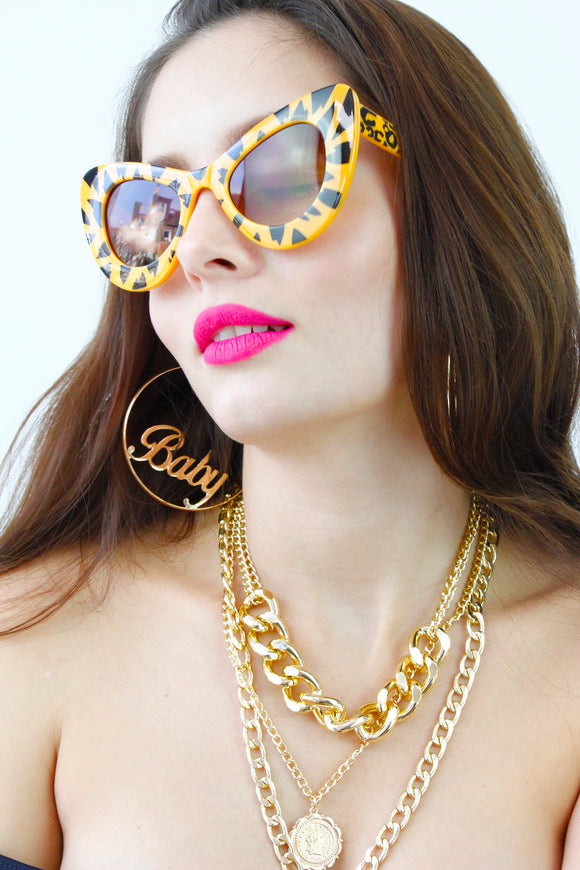 Yellow Animal Print Cat Eye Oversized Sunglasses