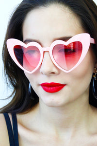 Pink Rose Lens Oversized Heart Sunglasses