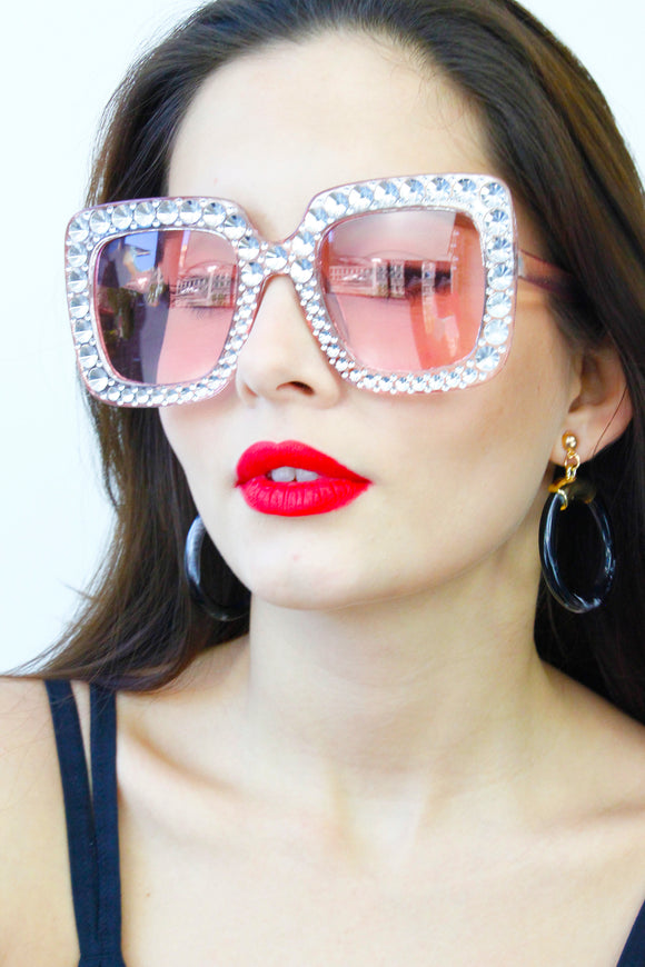 Clear Diamante Rose Tinted Oversized Sunglasses