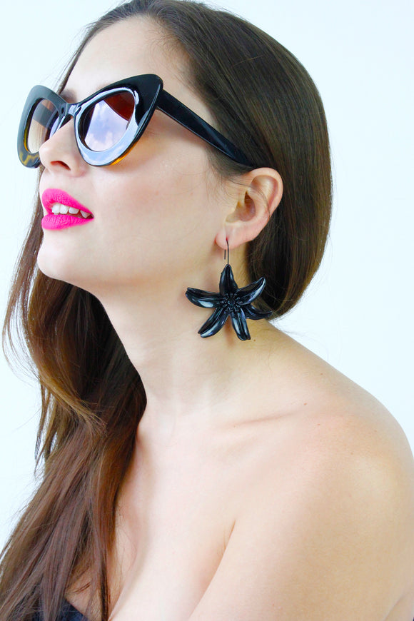 Black Flower Drop Dangle Earrings
